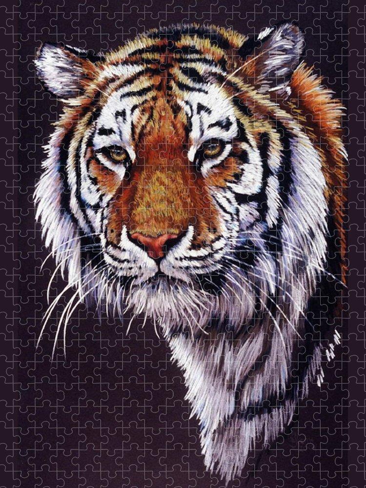 Tiger Puzzle featuring the drawing Desperado by Barbara Keith