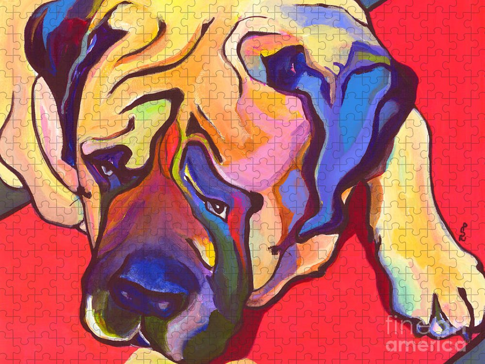 Mastiff Puzzle featuring the painting Diesel  by Pat Saunders-White