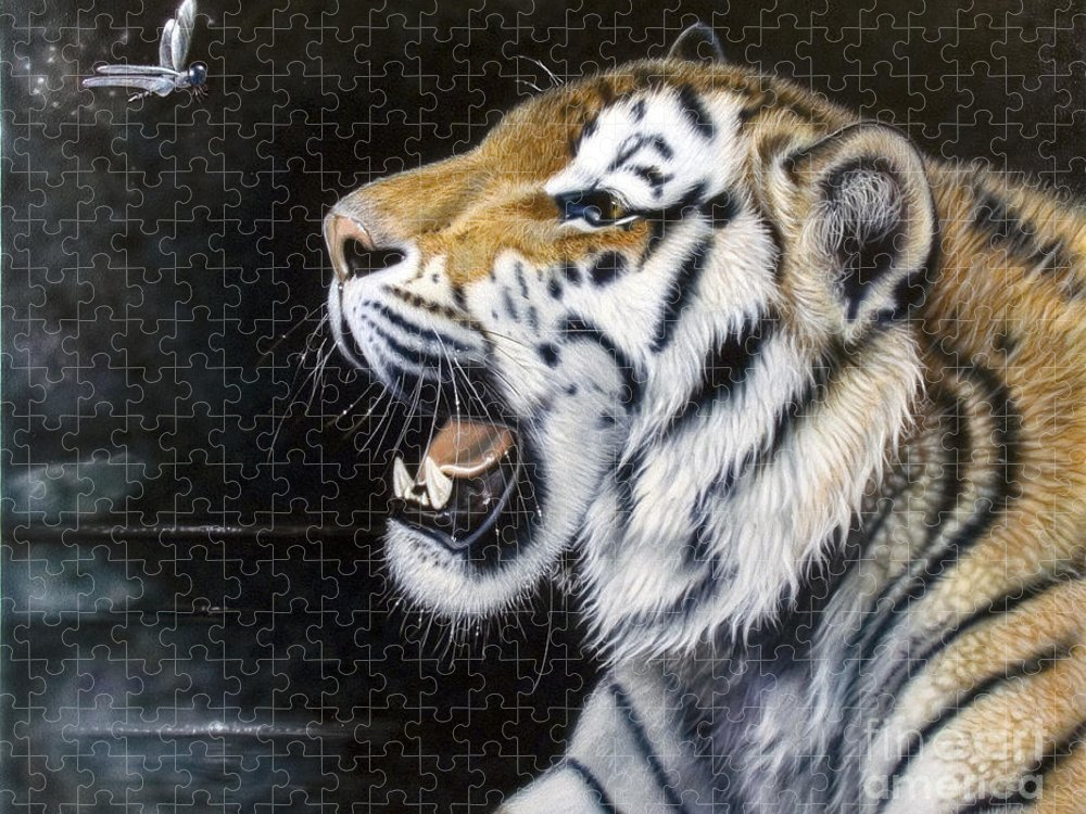 Tiger Puzzle featuring the painting Dragonfly by Sandi Baker