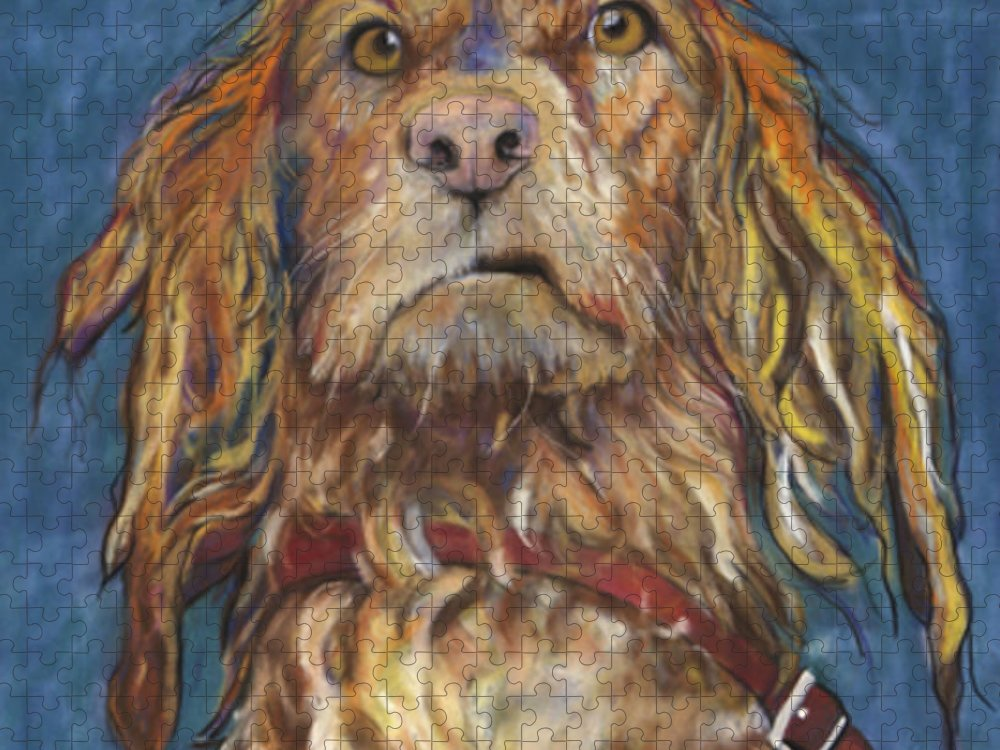 Golden Retriever Painting Puzzle featuring the pastel Drenched by Pat Saunders-White
