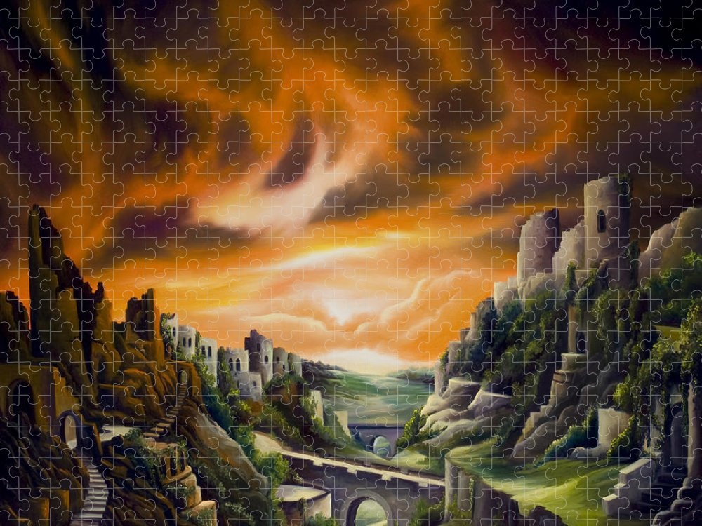 Ruins; Cityscape; Landscape; Nightmare; Horror; Power; Roman; City; World; Lost Empire; Dramatic; Sky; Red; Blue; Green; Scenic; Serene; Color; Vibrant; Contemporary; Greece; Stone; Rocks; Castle; Fantasy; Fire; Yellow; Tree; Bush Puzzle featuring the painting DualLands by James Christopher Hill