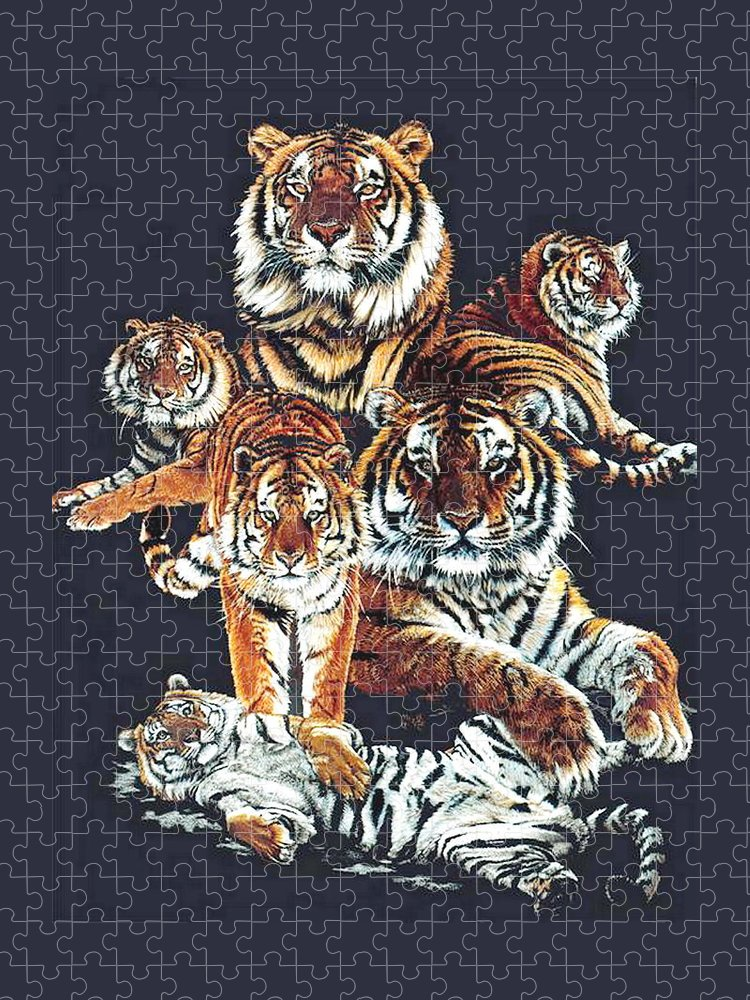 Tiger Puzzle featuring the drawing Dynasty by Barbara Keith