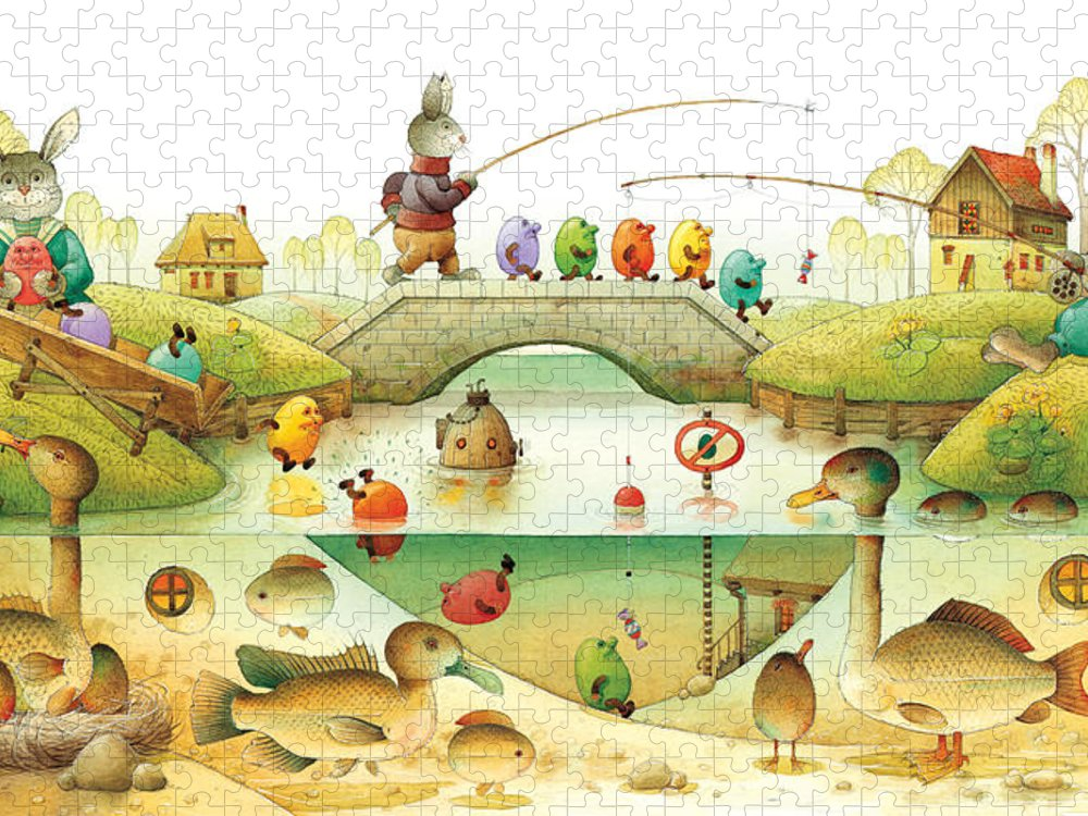 Eggs Easter Rabbit Puzzle featuring the painting Eggstown by Kestutis Kasparavicius