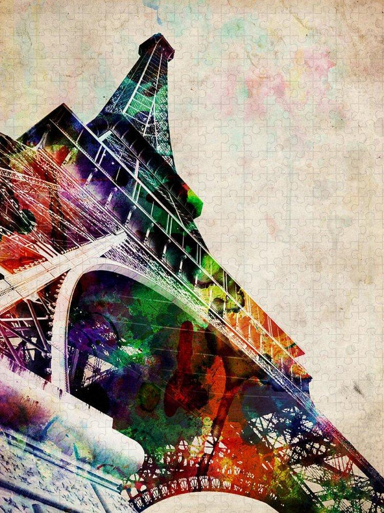 Eiffel Tower Puzzle featuring the digital art Eiffel Tower by Michael Tompsett