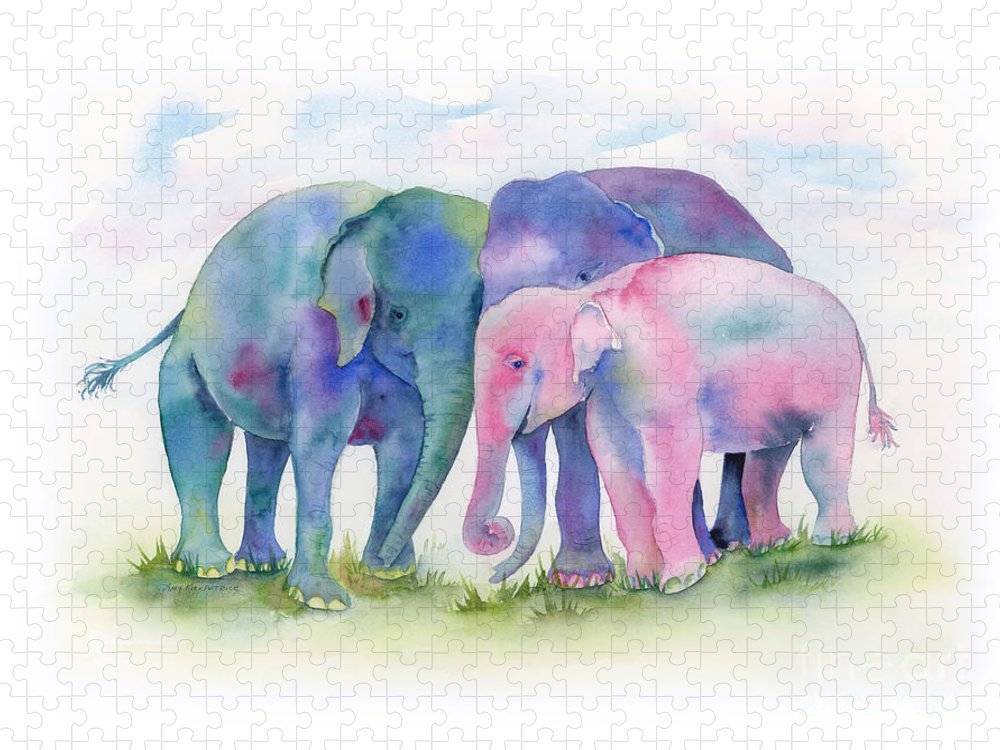 Elephant Puzzle featuring the painting Elephant Hug by Amy Kirkpatrick
