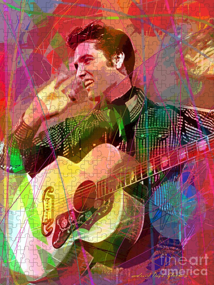 Elvis Puzzle featuring the painting Elvis Rockabilly by David Lloyd Glover
