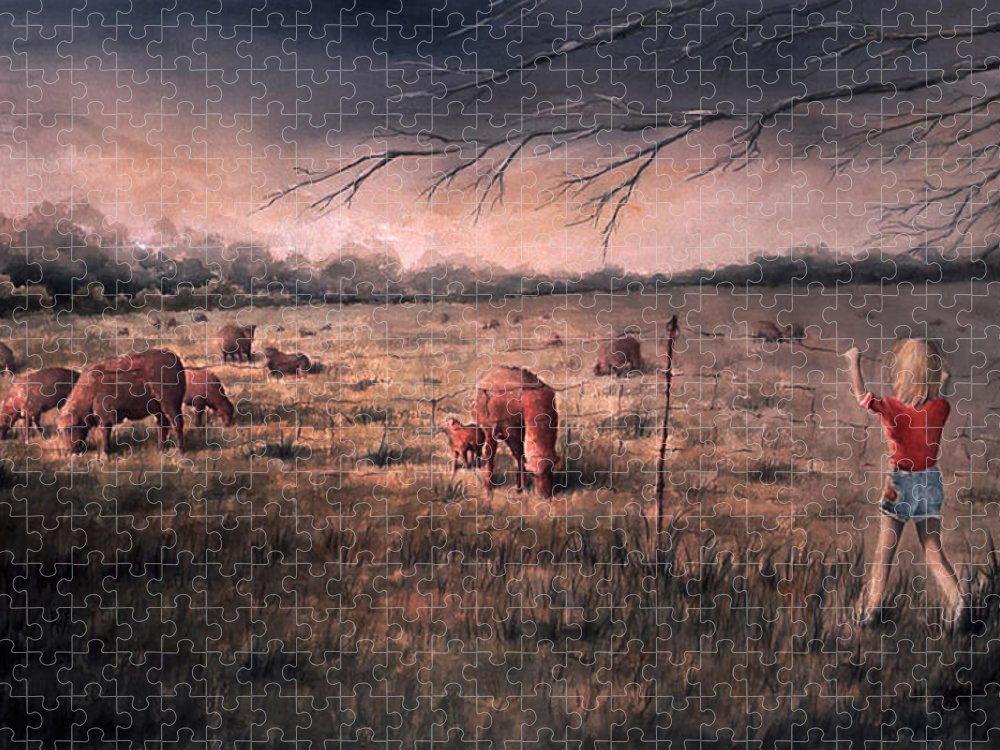 Landscape Puzzle featuring the painting A childhood by William Russell Nowicki