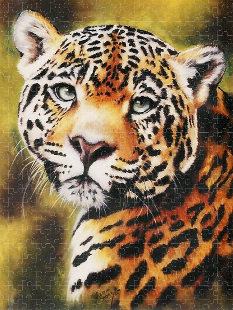 Jaguar Puzzle featuring the pastel Enchantress by Barbara Keith