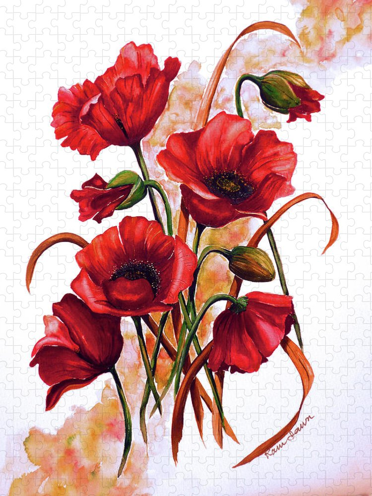 Red Poppies Paintings Floral Paintings Botanical Paintings Flower Paintings Poppy Paintings Field Poppy Painting Greeting Card Paintings Poster Print Painting Canvas Print Painting  Puzzle featuring the painting English Poppies 2 by Karin Dawn Kelshall- Best
