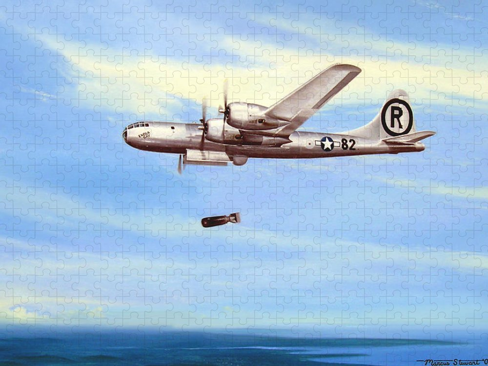 Military Puzzle featuring the painting Enola Gay by Marc Stewart