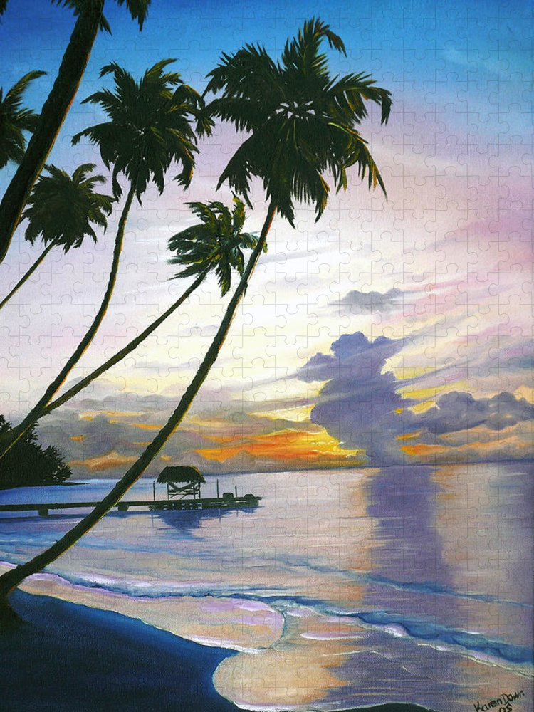 Ocean Painting Seascape Painting Beach Painting Sunset Painting Tropical Painting Tropical Painting Palm Tree Painting Tobago Painting Caribbean Painting Original Oil Of The Sun Setting Over Pigeon Point Tobago Puzzle featuring the painting Eventide Tobago by Karin Dawn Kelshall- Best