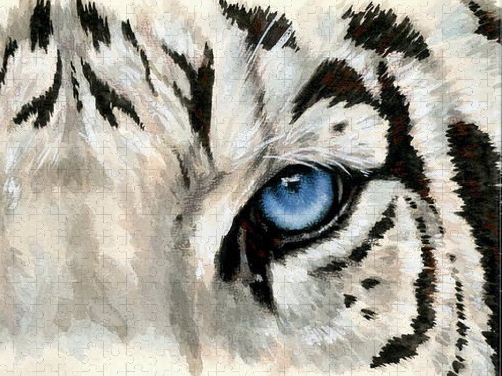 Big Cat Puzzle featuring the painting Royal White Tiger Gaze by Barbara Keith