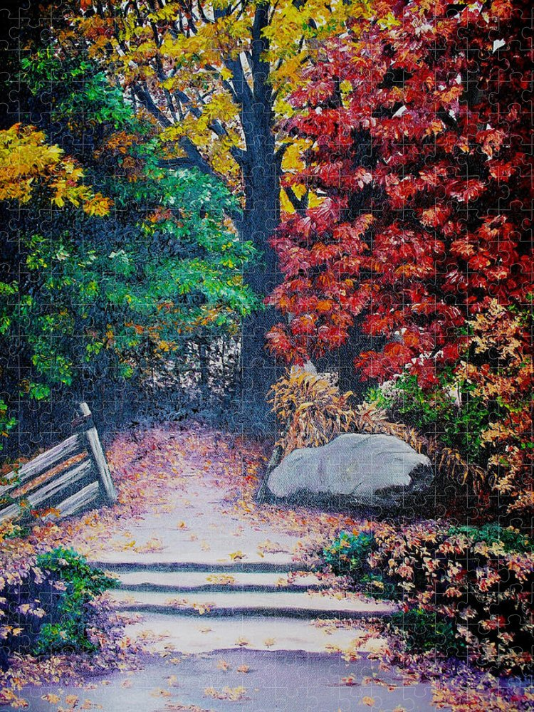 A N Original Painting Of An Autumn Scene In The Gateneau In Quebec Puzzle featuring the painting Fall In Quebec Canada by Karin Dawn Kelshall- Best