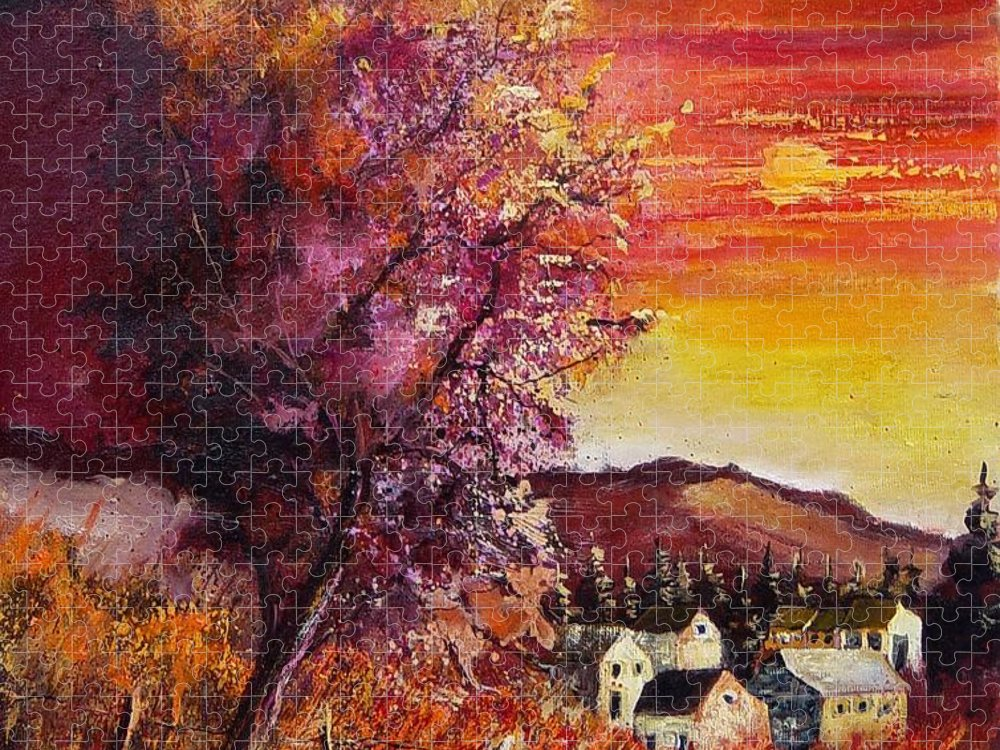 Autumn Puzzle featuring the painting Fall in Villers by Pol Ledent