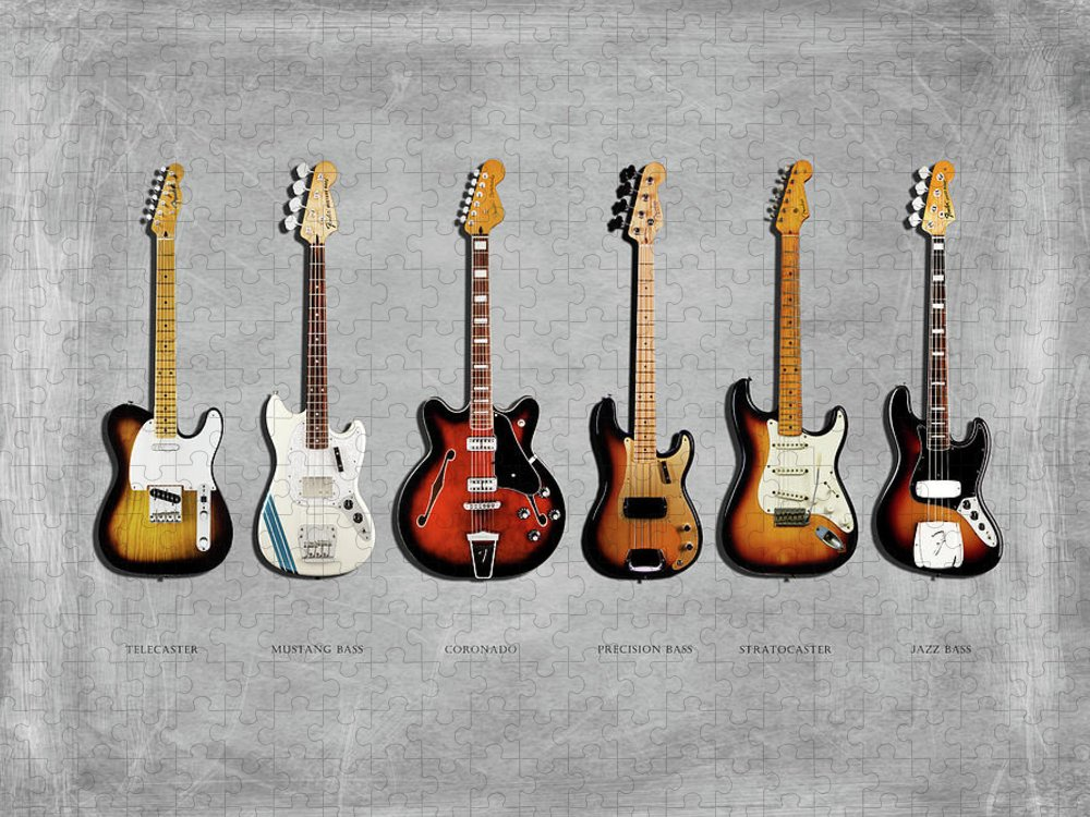 Fender Stratocaster Puzzle featuring the photograph Fender Guitar Collection by Mark Rogan