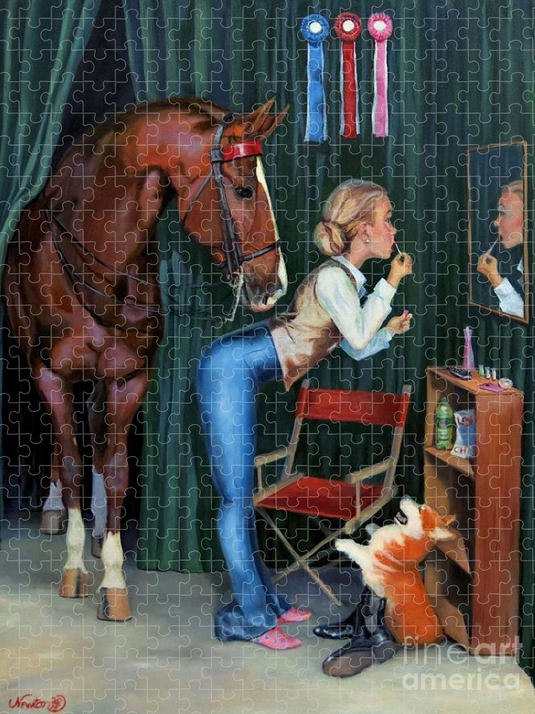 American Saddlebred Puzzle featuring the painting Finishing Touches by Jeanne Newton Schoborg