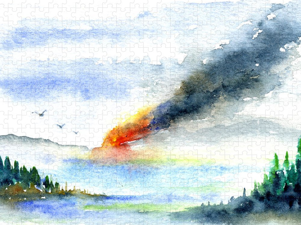 Fire Puzzle featuring the painting Fire in the Mountains by John D Benson