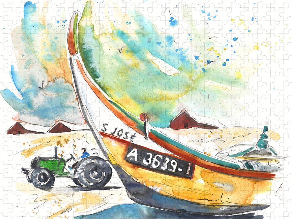 Portugal Puzzle featuring the painting Fisherboat in Praia de Mira by Miki De Goodaboom