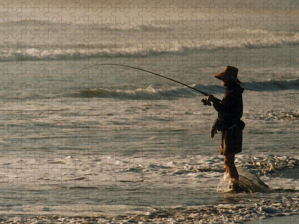 Fisherman Puzzle featuring the photograph Fisherman by Steve Karol