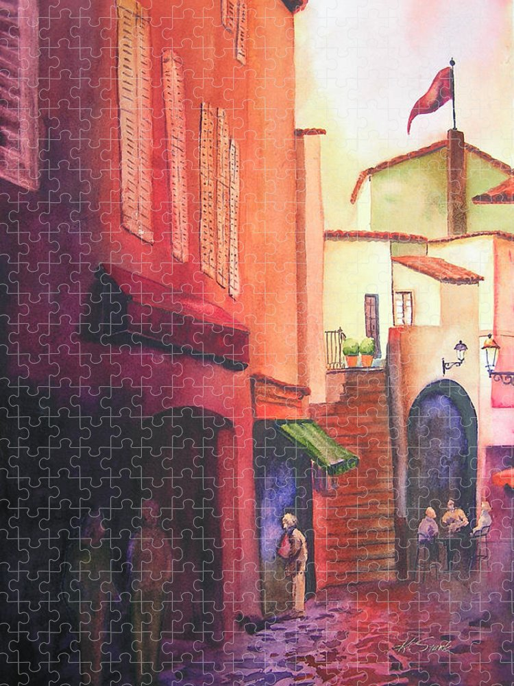 Europe Puzzle featuring the painting Flag Over St. Tropez by Karen Stark