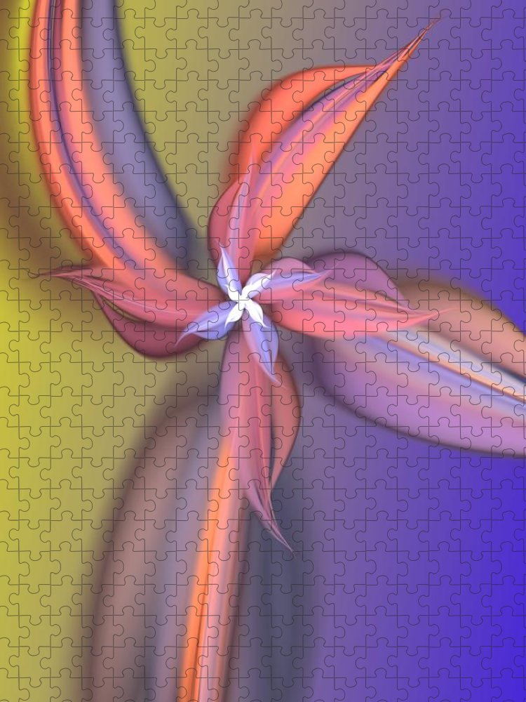 Fine Art Puzzle featuring the digital art Floral Fantasy 021711 by David Lane