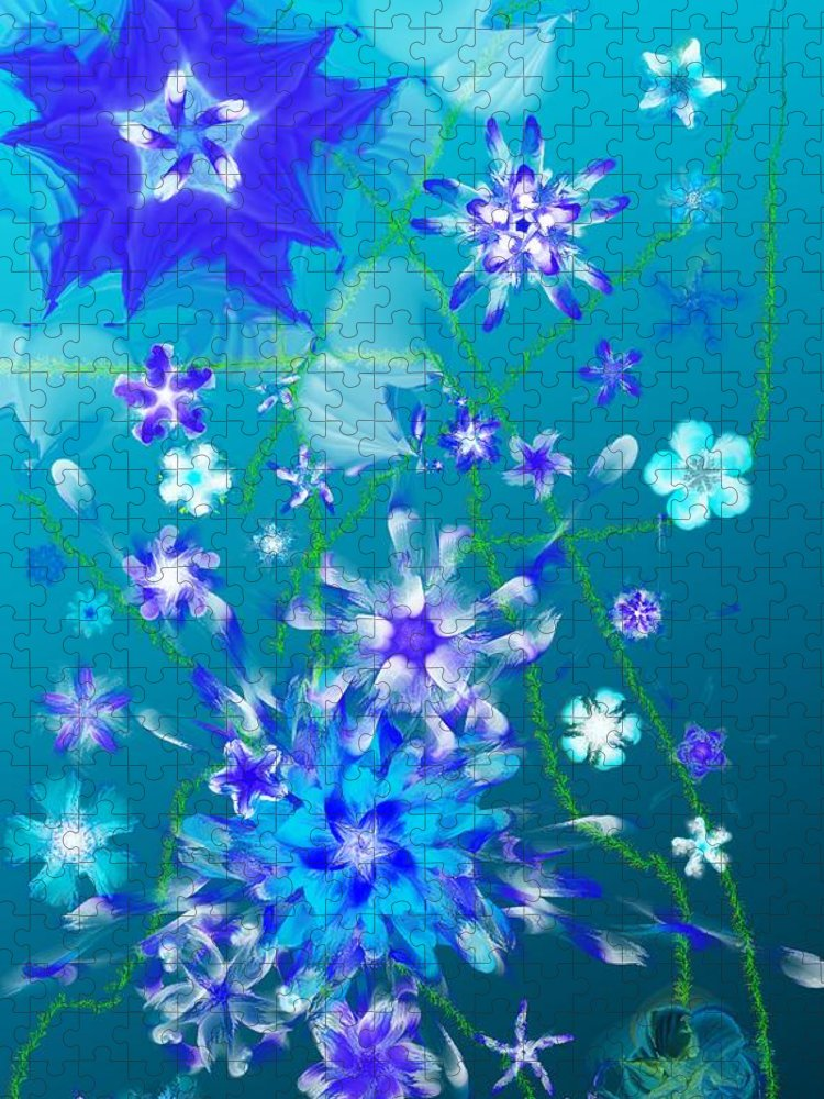 Floral Puzzle featuring the digital art Floral fantasy 121910 by David Lane