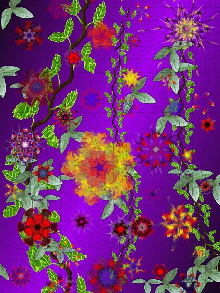 Flower Puzzle featuring the digital art Floral Fantasy 122410 by David Lane