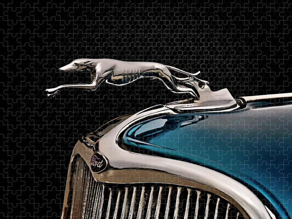 Vintage Puzzle featuring the digital art Ford Blue Dog by Douglas Pittman