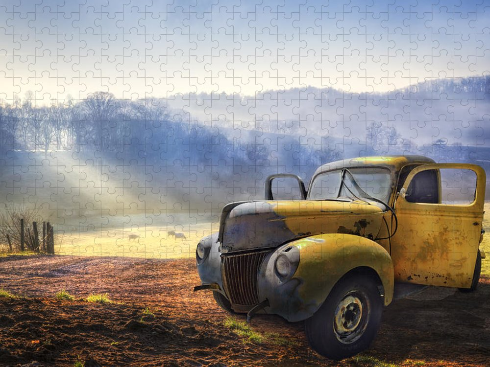 Appalachia Puzzle featuring the photograph Ford in the Fog by Debra and Dave Vanderlaan