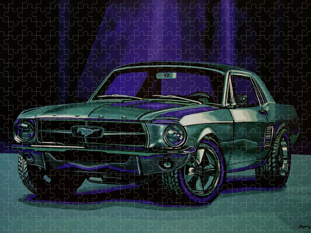 Ford Mustang Puzzle featuring the painting Ford Mustang 1967 Painting by Paul Meijering