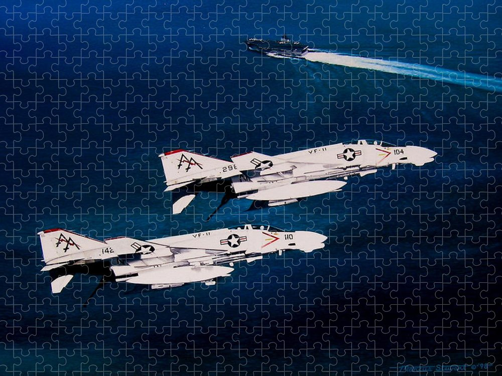 Military Puzzle featuring the painting Forrestal s Phantoms by Marc Stewart