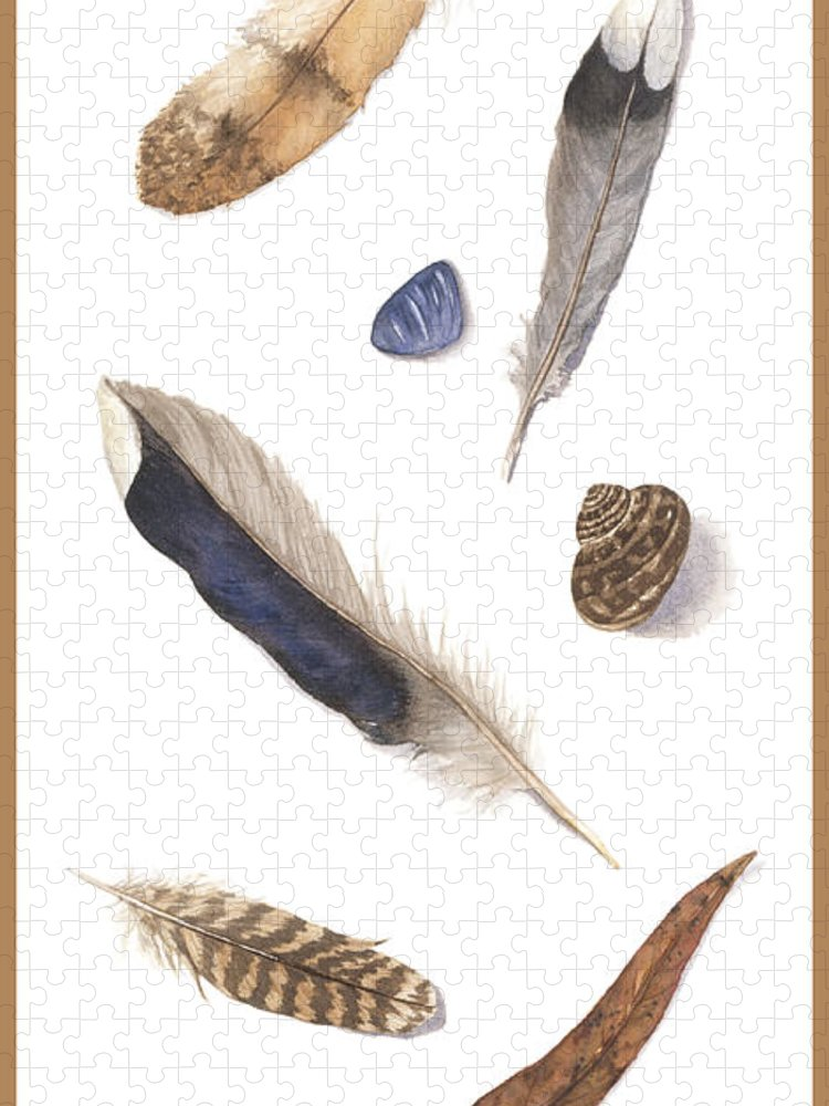 Feathers Puzzle featuring the painting Found Treasures by Lucy Arnold