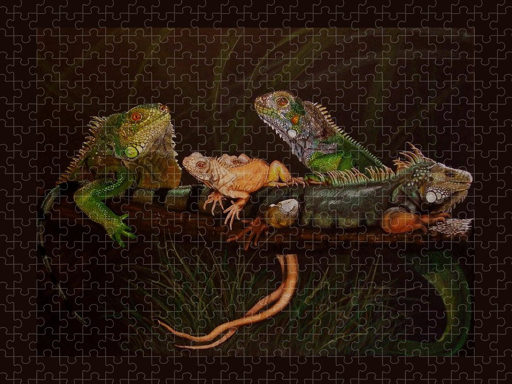 Iguana Puzzle featuring the drawing Full House by Barbara Keith