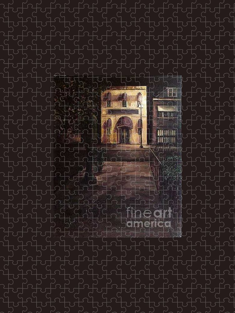 Chicago Puzzle featuring the painting Funeral Home at Night by Christopher Buoscio