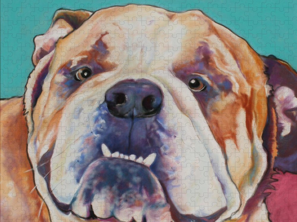 Pat Saunders-white Pet Portraits Puzzle featuring the painting Game Face  by Pat Saunders-White