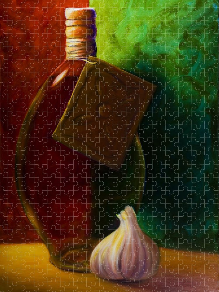 Shannon Grissom Puzzle featuring the painting Garlic And Oil by Shannon Grissom