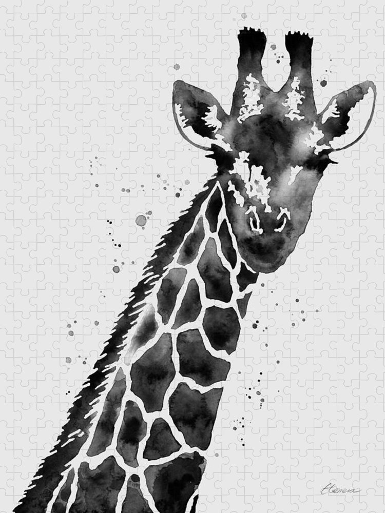 Giraffe Puzzle featuring the painting Giraffe in Black and White by Hailey E Herrera
