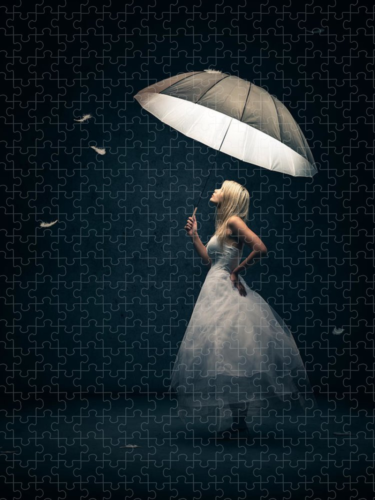 Girl Puzzle featuring the photograph Girl with umbrella and falling feathers by Johan Swanepoel