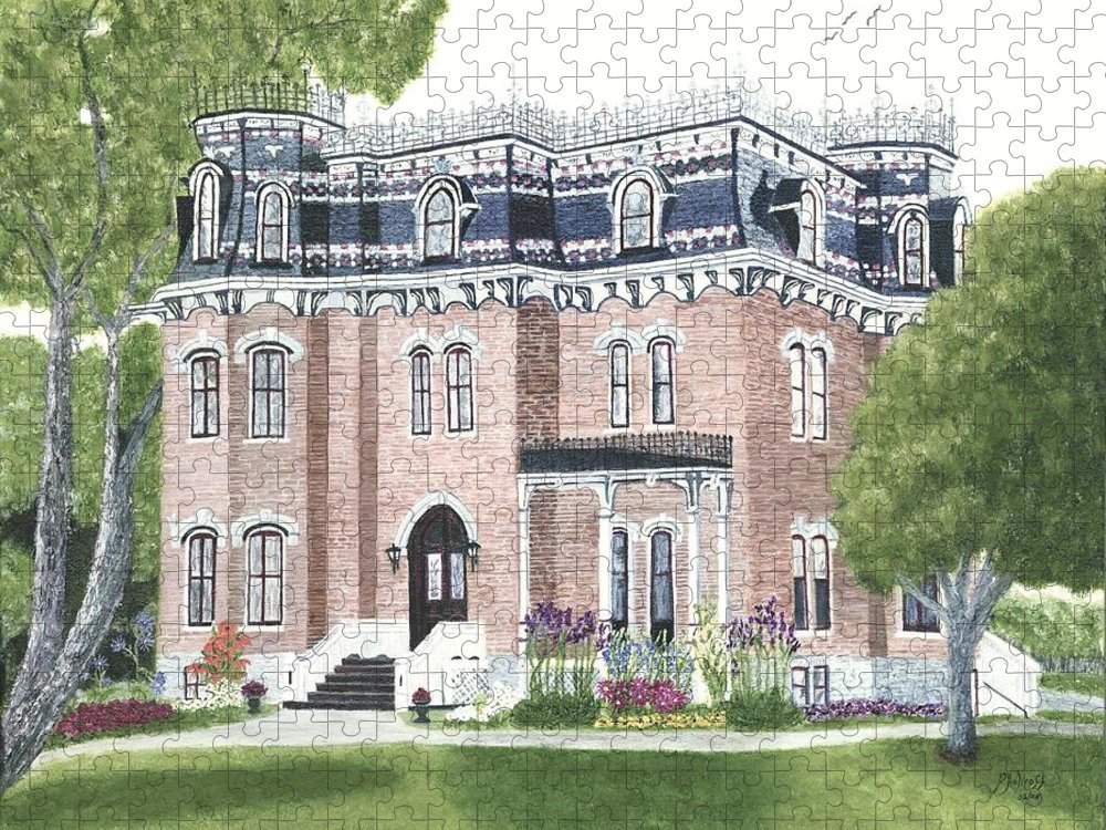 Historic Buildings Painting Puzzle featuring the painting Glanmore National Historic Site circa 1883 by Peggy Holcroft