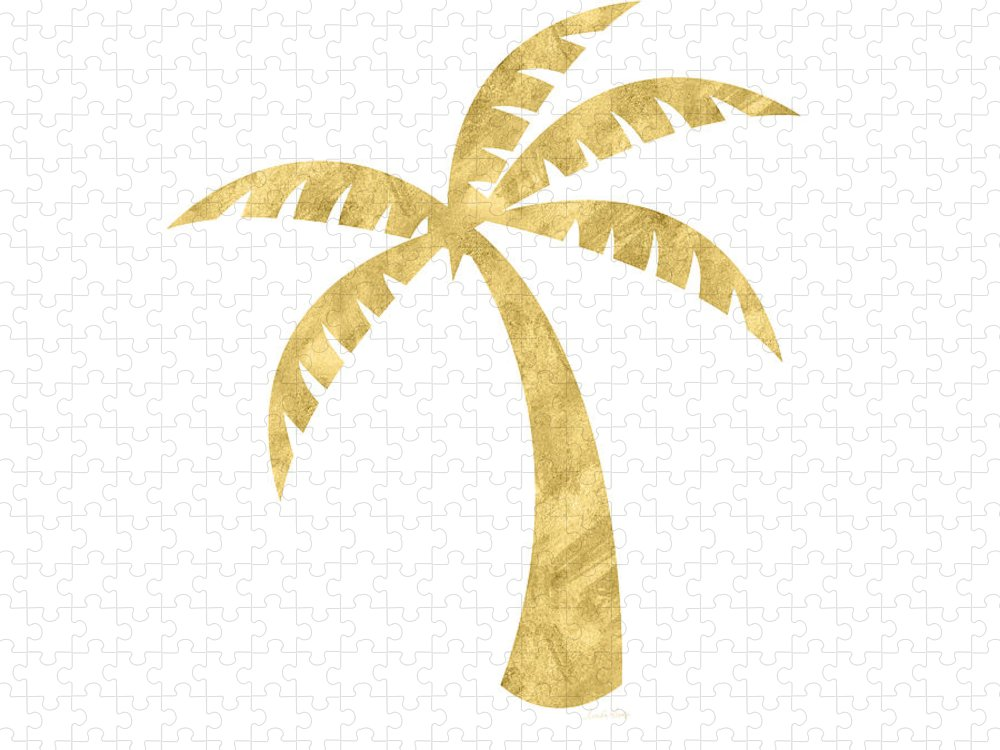 Palm Tree Puzzle featuring the mixed media Gold Palm Tree- Art by Linda Woods by Linda Woods