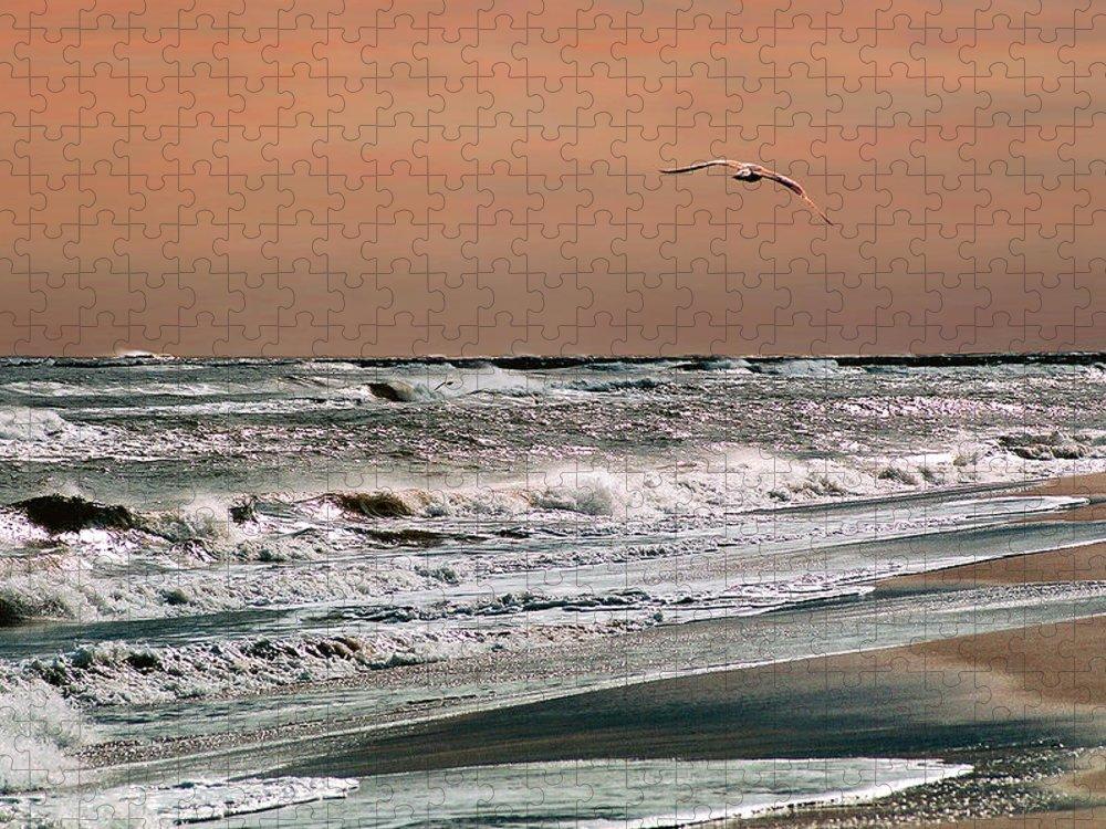 Seascape Puzzle featuring the photograph Golden Shore by Steve Karol