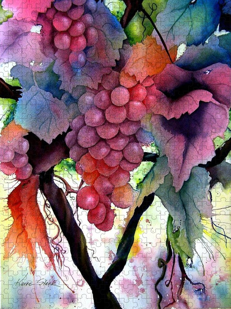 Grape Puzzle featuring the painting Grapes III by Karen Stark