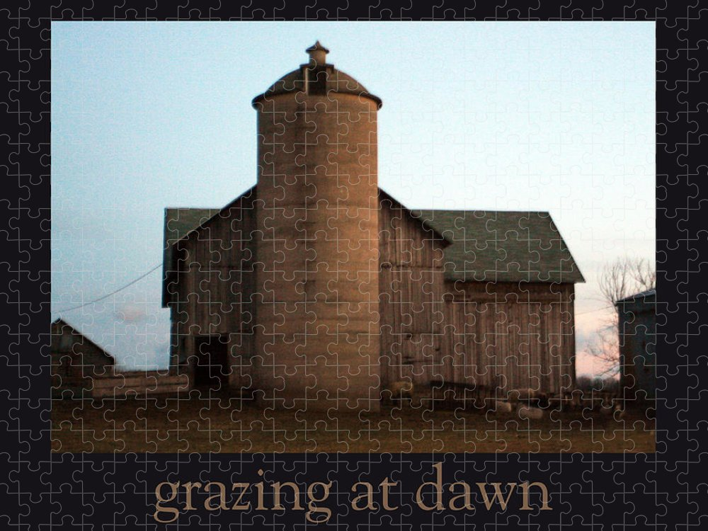 Barn Puzzle featuring the photograph Grazing at Dawn by Tim Nyberg