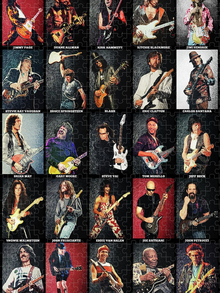 Guitar Puzzle featuring the digital art Greatest Guitarists Of All Time by Zapista OU