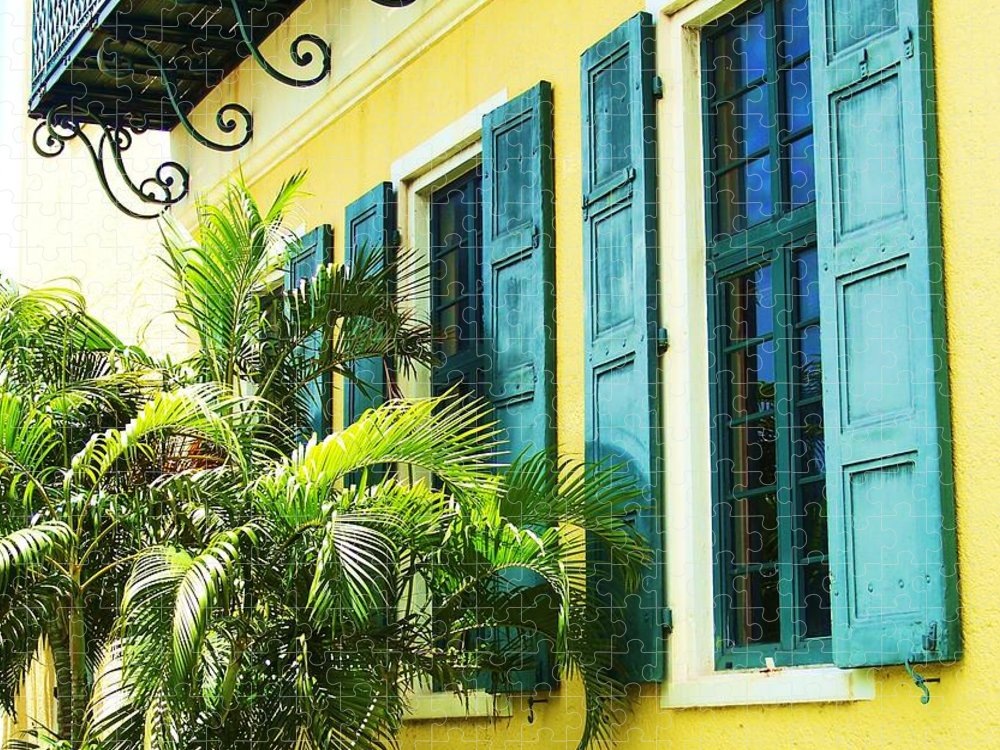 Architecture Puzzle featuring the photograph Green Shutters by Debbi Granruth