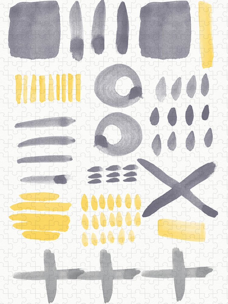Grey And Yellow Puzzle featuring the painting Grey and Yellow Shapes- abstract painting by Linda Woods