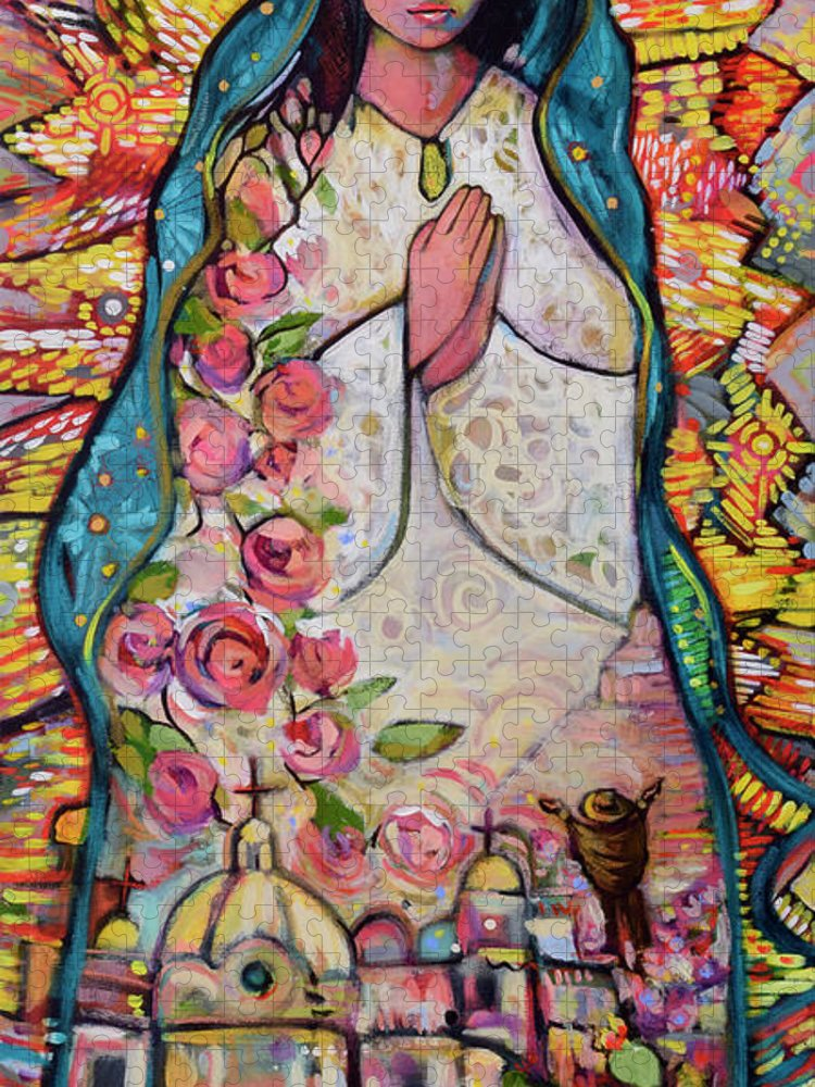 Jen Norton Puzzle featuring the painting Guadalupe by Jen Norton
