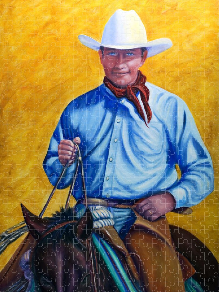Cowboy Puzzle featuring the painting Happy Trails by Shannon Grissom