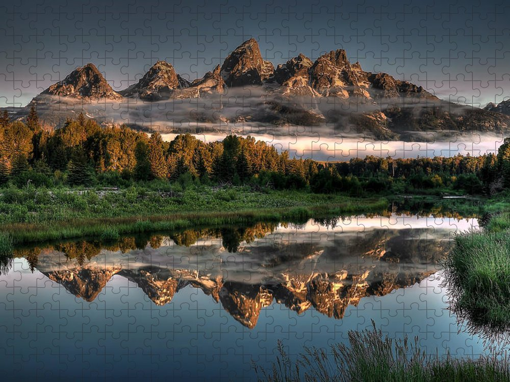 Schwabacher Landing Puzzle featuring the photograph Hazy Reflections at Scwabacher Landing by Ryan Smith