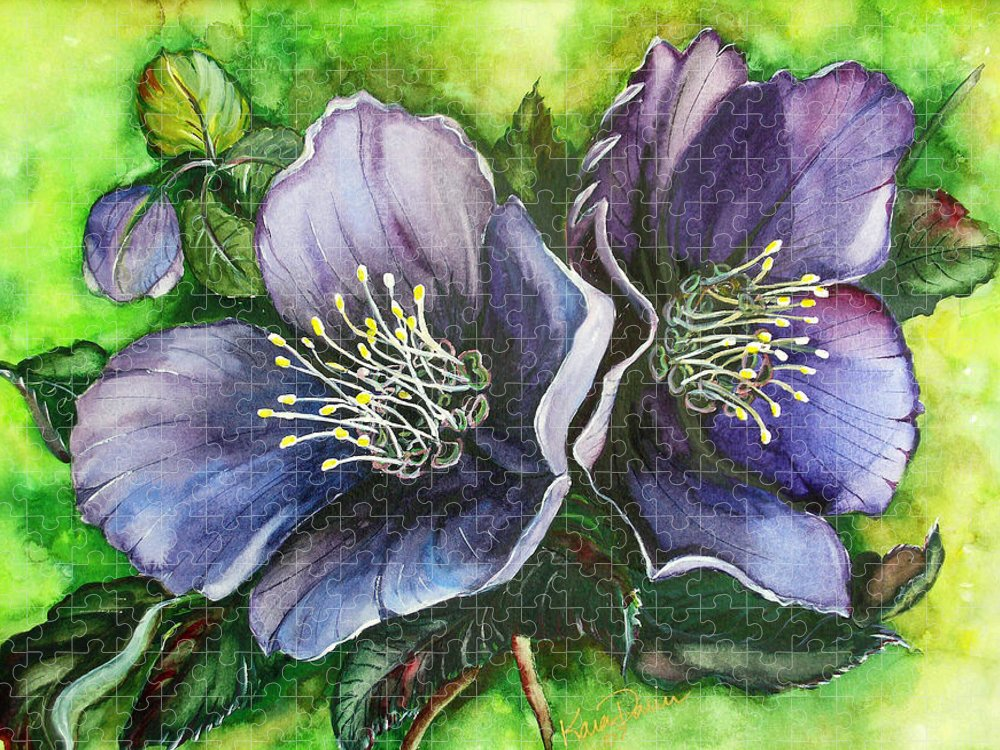 Flower Painting Botanical Painting Original W/c Painting Helleborous Painting Puzzle featuring the painting Helleborous Blue Lady by Karin Dawn Kelshall- Best